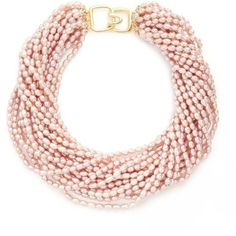 Kenneth Jay Lane Multi strand baroque pearl necklace (1.695 RON) ❤ liked on Polyvore featuring jewelry, necklaces, accessories, collar, jewels, pink, pink jewelry, twisted necklace, multiple chain necklace and kenneth jay lane necklace
