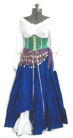 Esmeralda Costume Corset Belt 5 Pieces Hunchback of Notre Dame Disney Costume Gypsy Cosplay Hallowee