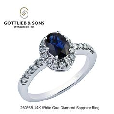 Classy and elegant this 14K White Gold Diamond Sapphire ring is perfect for any occasion.  This #sapphire ring features an oval sapphire surrounded by a glittering #diamond halo and shared prong set diamonds set in the band.  Visit your local #GottliebandSons retailer and ask for style number 26093B. http://www.gottlieb-sons.com/product/detail/26093B