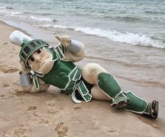 Sparty at the beach