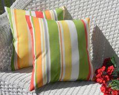 "SET OF 2 - 20"" Indoor / Outdoor Throw Pillows - 2 Robert Allen Fabric Coral, Lime, Yellow, Orange, White Stripe Pillows"