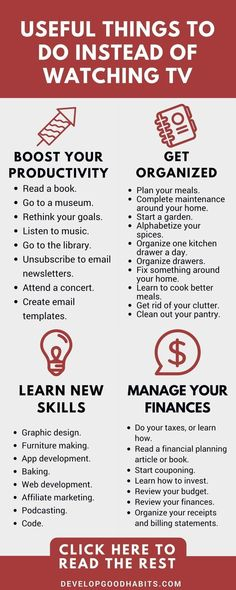 how to live without television -useful things to do rather than watching TV: manage finances, increase personal productivity, get organized and learn new skills #FinancePoster
