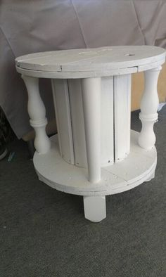 Paul made this upcycled end table from a cable reel and old table legs
