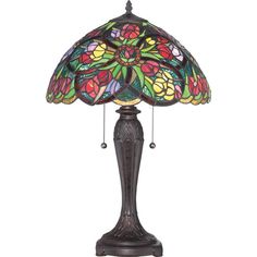 Quoizel TF1868T Tiffany 2 Light Table Lamp Antique Bronze Lamps Table Lamps