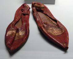 Roman slippers in leather and gold, from Egypt, 4th century.  Getty Villa collection
