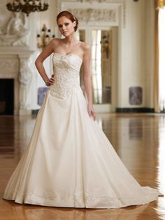 Taffeta Modified Sweetheart Decadent corded Lace Adorns Bodice A-line Wedding Dress