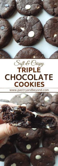 These triple chocolate cookies are soft in the middle, crispy at the edges and they are slightly chewy. #triplechocolatecookies #chocolatecookies #softchocolatecookies