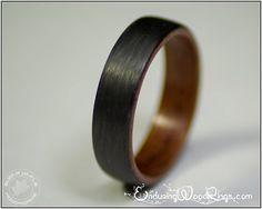 Carbon Fiber Ring with Bubinga Wood Liner - mens carbon fiber rings - carbon fiber wedding rings on Etsy, $165.00