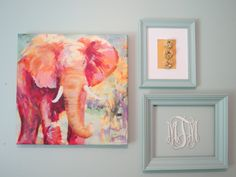 Elephant painting from Home Goods - would be PERFECT for an aqua and coral nursery!