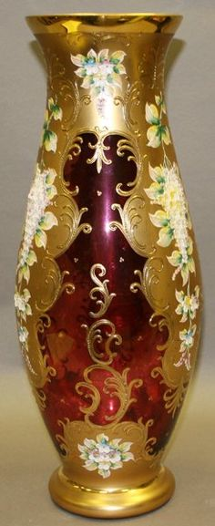 Vintage Moser Ruby Glass Vase w/Enamelled Gold, Florals and Scroll decoration ♥ Cut Glass, Glass Art, Cranberry Glass, Antique Glassware, Bottle Vase, Glass Collection, Vases Decor, Glass Design, Decoration