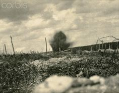 World War I. Battle of Verdun. Burst of shell (Meuse, France). In 1916.