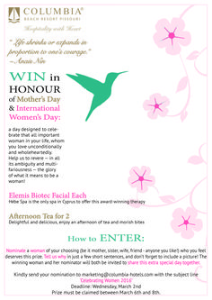 * WIN in honour of #MothersDay & #InternationalWomensDay * a fabulous spa and food-filled day designed to celebrate that all important woman in your life,  be in mother, sister, wife, friend, daughter...whomever you like! Simply NOMINATE the woman you feel deserves this prize and tell us why in just a few short sentences (don't forget to include a picture!).  Send entries to marketing@columbia-hotels.com by March 2nd!
