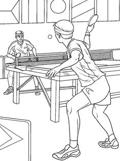tafeltennis kleurplaat / ping-pong Sports Coloring Pages, Colouring Pages, Coloring Pages For Kids, Coloring Sheets, Tennis Drawing, Ping Pong Games, Olympic Crafts, Table Tennis Player, Body Drawing Tutorial