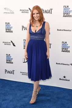 Pin for Later: See Every Gorgeous Arrival From the Spirit Awards Jessica Chastain Wearing and Elie Saab dress and Roger Vivier heels.