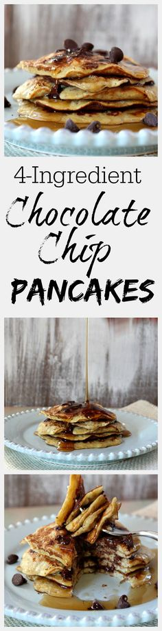 Recipe for 4 Ingredient Chocolate Chip Pancakes. They are gluten free and dairy free. What's For Breakfast, Breakfast Dishes, Breakfast Recipes, Cupcakes, Tostadas, Crepes, Diy Spring, Chocolate Chip Pancakes, Banana Pancakes