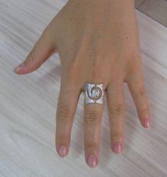 R001179 Sterling Silver Ring Solid 925 Spiral CZ by EmpressSilver