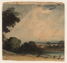 Constable, landscape with fence watercolour on paper