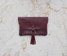 SAMPLE SALE - Oxblood Leather Clutch with Tassel