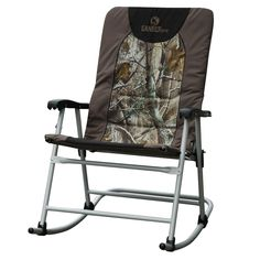 Patio Rocker Extra Large Rocking Quad Chair Padded Outdoor Leisure Perfect for Camping Fishing Hunting Hiking Folds Flat for Easy Storage Camo. Powder-coated steel frame. 600D polyester padding. Contoureed plastic arm rests. Folds flat for compact storage. Capacity: 300-lbs.