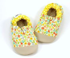Buy Now flower baby shoes yellow flowers rubber soles shoes...