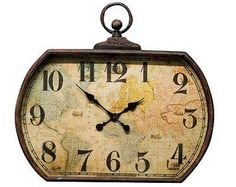 Vintage world map alarm clock furniture accessories at mulberry vintage metal large world map wall clockavailable from mulberry moon gumiabroncs Image collections