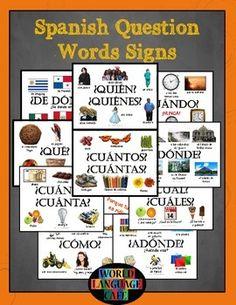 Spanish Question Words, Interrogatives, Interrogativos Signs for your classroom…