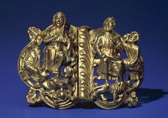 Gilded bronze Buckle with Seated Couple, South Netherlandish, c. 1200