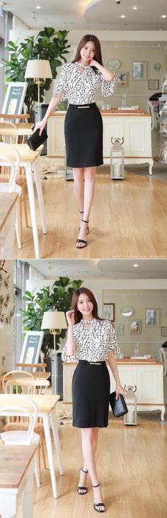 Korean Women`s Fashion Shopping Mall, Styleonme. Asian Fashion, Look Fashion, Fashion Models, Ropa Semi Formal, Washington Dc Fashion, Moda Vintage, Office Looks, Korean Model, Office Fashion