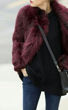 Pairing a oxblood fur jacket with navy skinny jeans is a comfortable option for running errands in the city.  Shop this look for $176:  http://lookastic.com/women/looks/navy-skinny-jeans-black-oversized-sweater-black-crossbody-bag-burgundy-jacket/5422  — Navy Skinny Jeans  — Black Oversized Sweater  — Black Leather Crossbody Bag  — Burgundy Fur Jacket
