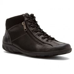 Womens leather flat ankle boots in black color. Soft and comfortable. Soft interior, removable sole and rubber outsole. In large sizes from Remonte. Sneaker Boots, Ankle Booties, Shoes Online, High Top Sneakers, Shoe Boots, Booty, Leather, Stuff To Buy, Black