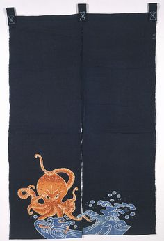 Noren, late 19th century-early 20th century (made). Woven cotton, with freehand paste-resist decoration (tsutsugaki). This noren, with its stiking octopus motif, probably hung at the entrance to a shop or restaurant specialising in seafood. VAM