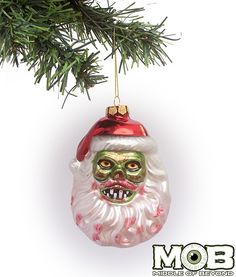 Zombie Santa Glass Ornament