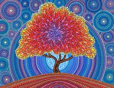 Autumn Blossoms by Elspeth McLean/ Tree of Life Aboriginal Dot Painting, Dot Art Painting, Stone Painting, Painting & Drawing, Mandala Art, Mandala Painting, Tree Of Life Art, Tree Art, Kunst Der Aborigines