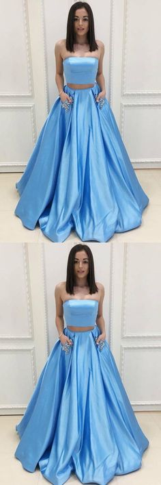 Two Piece Strapless Sweep Train Blue Satin Prom Dresses with Pockets PG479 #promdress #partydress #eveningdress #ballgown #satindress #twopiece #blue