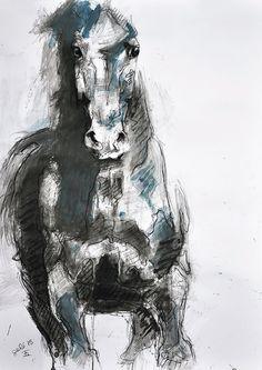 Galoppo cavallo originale disegno a carboncino di di benedictegele