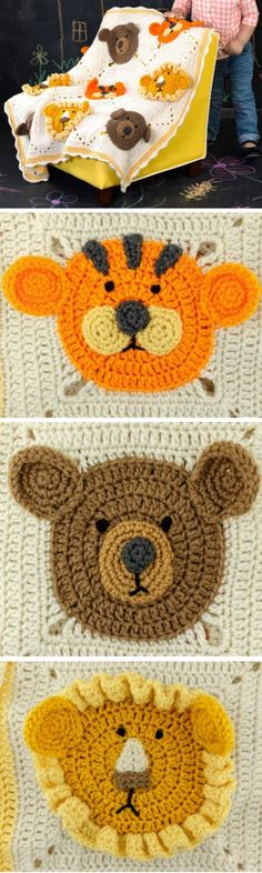 Crochet Lion Blanket Pattern Lots Of Great Ideas For You You will love this Crochet Lion Blanket Pattern and its free! It features teddy bears, tigers and is so incredibly adorable. Crochet Lion, Manta Crochet, Cute Crochet, Baby Blanket Crochet, Crochet Animals, Granny Square Crochet Pattern, Crochet Motif, Crochet Patterns, Crochet Appliques
