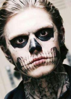 american horror story, evan peters, langdon, skull, tate