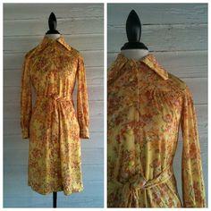 Vintage 70s Dress  Yellow Floral  Vintage by runaroundsuevintage, $26.00