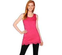 Attitudes by Renee Sleeveless Lace Knit Tunic with Camisole — QVC.com