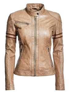 Awesome biker jacket...I love that it's not black, but it's still totally badass.