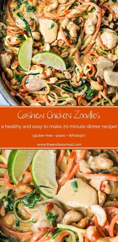Cashew Chicken Zoodles are a super easy to make and delicious weeknight dinner recipe. They're loaded with healthy and low carb veggie noodles smothered in a creamy cashew sauce that is totally addictive. This is our favorite chicken and zoodles recipe! Zoodle Recipes, Spiralizer Recipes, Paleo Recipes, Clean Eating, Healthy Eating, Paleo Dinner, Dinner Recipes, Dinner Menu, Cena Paleo