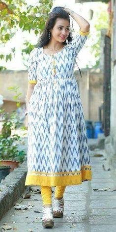Lets Take a Look at this Awesome Ikkat Kurti With South Cotton Patch Which Gives You more Comfort in Salwar Designs, Kurta Designs Women, Kurti Designs Party Wear, Blouse Designs, Dress Designs, Kalamkari Dresses, Ikkat Dresses, Kurta Patterns, Dress Patterns