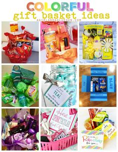I love giving presents. If I needed a back up job I would totally put together fun gift baskets! And Since I love color too….Let's combine the two! Fun themed gift baskets for all occasions! A cherry on top source ORANGE you glad source source source so Kids Gift Baskets, Themed Gift Baskets, Birthday Gift Baskets, Christmas Gift Baskets, Birthday Box, Basket Gift, Birthday Ideas, Office Birthday, Free Birthday