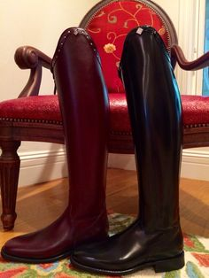 These are my new custom made and designed, DeNiro dressage boots I received in the mail yesterday! I'm so excited! The red for schooling and black for competition! 7/8/15 Ali