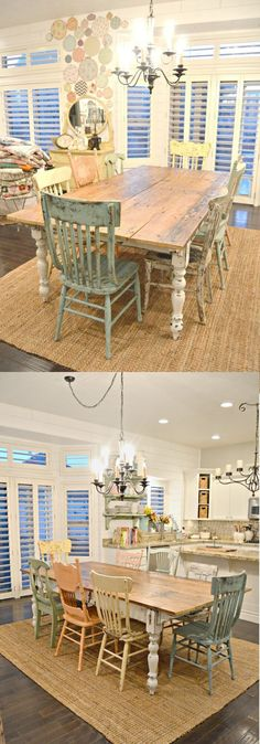 Farm style table w/mismatched chairs | Stunning Farmhouse Dining Room Design & Decor Ideas ...green foliage serve as center pieces.The bedroom has a kamasutra headboard in rustic wood bringing in a touch of the bohemian. The handloom cotton lin...aditional and Colonial ambiance giving a warm and comforting aesthetic to the house.The primitive country decor style can be seen in old door sideboa #topics.easyshabbychic.com #shabby-chic-farmhouse-dining #shabby