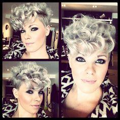 Cute curly pixie.