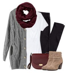 Gray cardigan, burgundy scarf with leggings by steffiestaffie on Polyvore featuring polyvore fashion style Target H&M rag & bone Old Navy