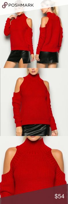"15% OFF BUNDLESCOLD SHOULDER KNIT SWEATER High neck cold shoulder sweater. Relaxed fit. Model is 5'10"" and wearing a small. 60% polyurethane 40% nylon. Black coming soon and is listed in my closet. Sweaters"
