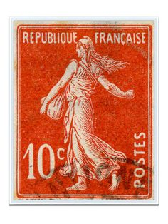vintage stamp from Paris by Solcher Marin