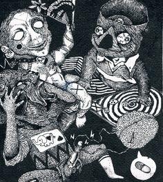 """""""jeux d'enfants"""" par Nils bertho - 2012  (rotring sur toile)"""